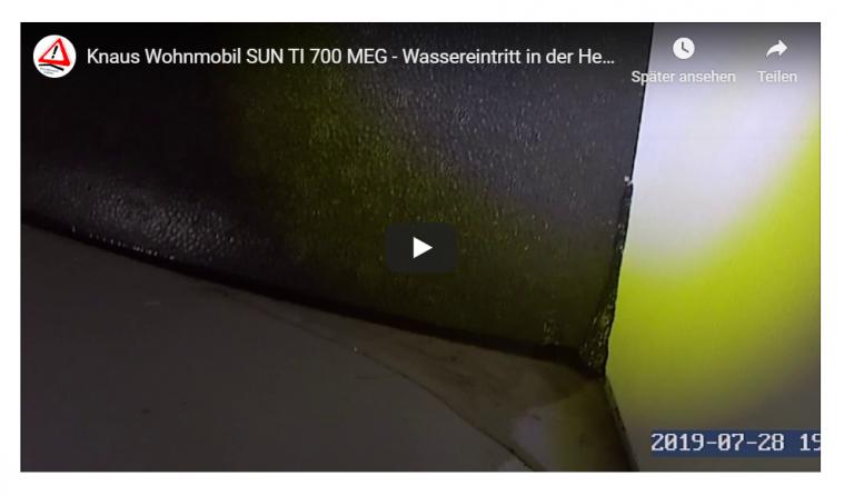 Höchste Zeit für Videobeweise: Undichte Heckgarage ist bekanntes Knaus Wohnmobil Problem